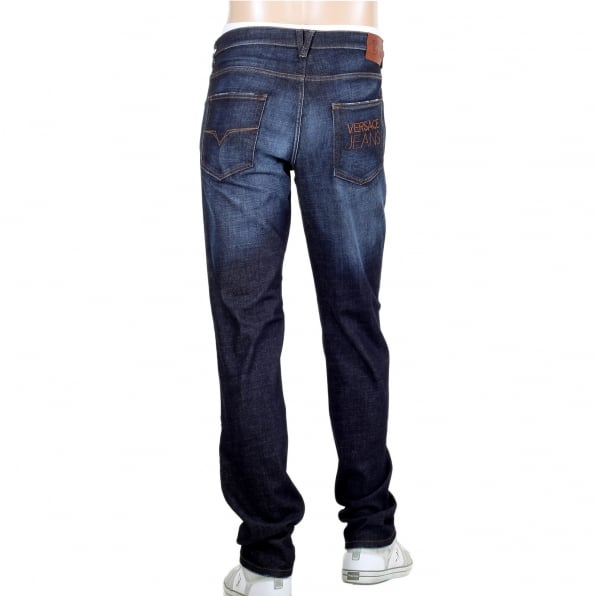 VERSACE Mens Stretch Denim Jeans with Embroidered Logo on the Back Pocket
