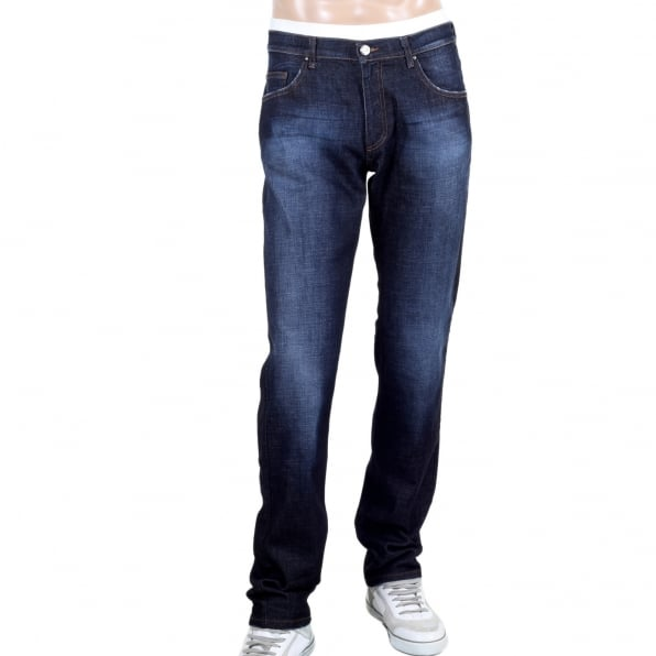 VERSACE JEANS Mens Stretch Denim Jeans with Embroidered Logo on the Back Pocket