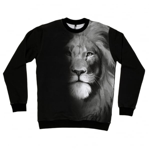 VERSACE Mens Washed Black Regular Fit Crew Neck Long Sleeve Sweatshirt with Lion Head Photo Print