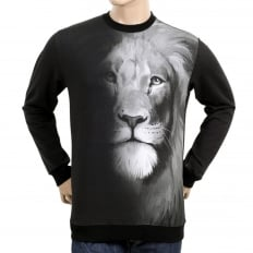 Mens Washed Black Regular Fit Crew Neck Long Sleeve Sweatshirt with Lion Head Photo Print