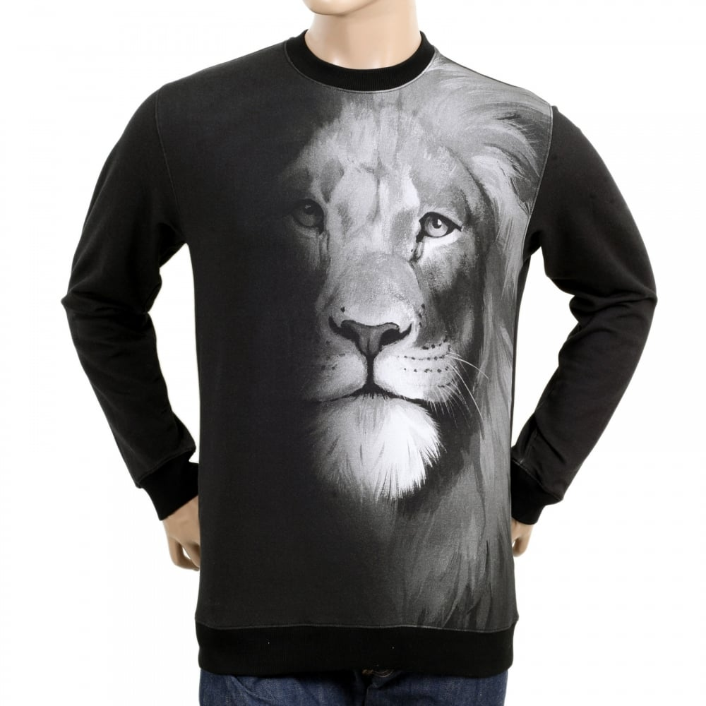 40b5a369 VERSACE JEANS Mens Washed Black Regular Fit Crew Neck Long Sleeve Sweatshirt  with Lion Head Photo Print