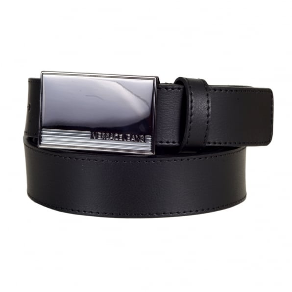 VERSACE JEANS Rectangular Gunmetal Hue Logo Embossed Metal Pin Buckled Black Leather Belt for Men