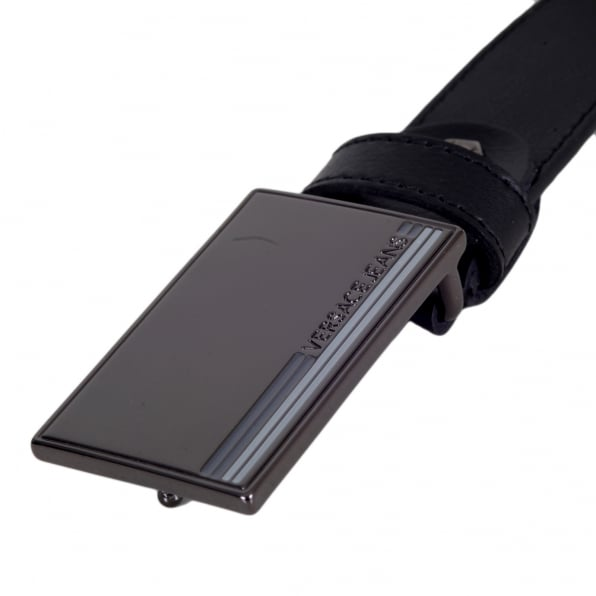 VERSACE JEANS Rectangular Gunmetal Hue Logo Embossed Metal Pin Buckled Black Leather Belt for Men