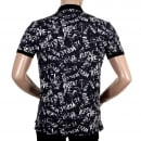 VERSACE JEANS Regular Fit Black Cotton Graffiti Printed Polo Shirt with Lion Head Buttons
