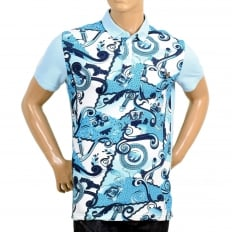 Regular Fit Blue Olympus Print Polo Shirt with a Silver Metal Logo Tab and Ribbed Collar and Sleeve Cuffs