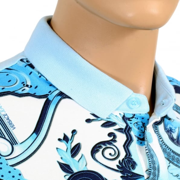 VERSACE JEANS Regular Fit Blue Olympus Print Polo Shirt with a Silver Metal Logo Tab and Ribbed Collar and Sleeve Cuffs