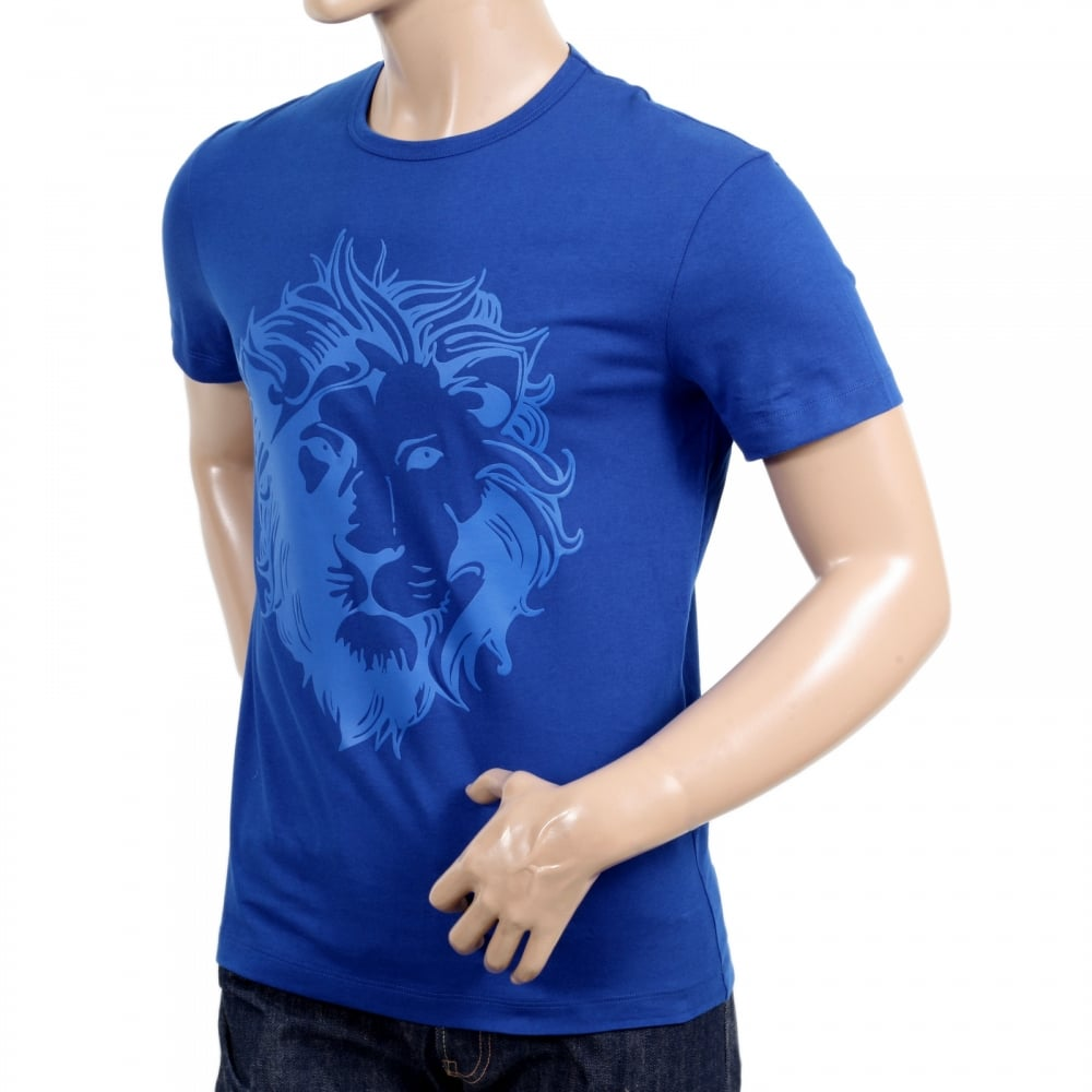 666ea4590b1f80 ... VERSACE JEANS Royal Blue Short Sleeve Crew Neck Regular Fit Mens T Shirt  with Self Coloured ...