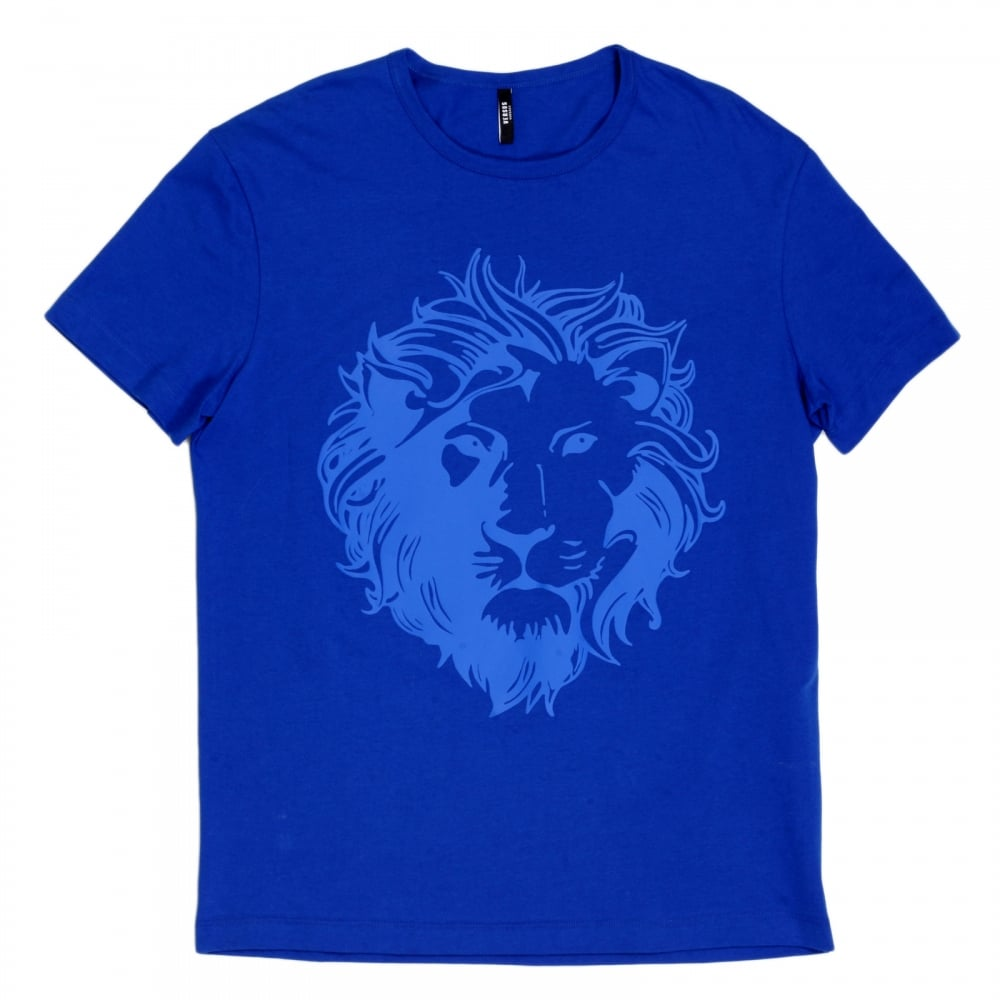 e040fbad3f42 VERSACE JEANS Royal Blue Short Sleeve Crew Neck Regular Fit Mens T Shirt  with Self Coloured ...