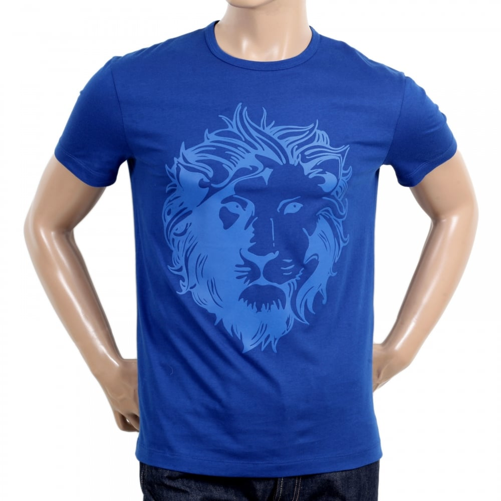 dc4c44f15a8002 VERSACE JEANS Royal Blue Short Sleeve Crew Neck Regular Fit Mens T Shirt  with Self Coloured Printed Lion Head