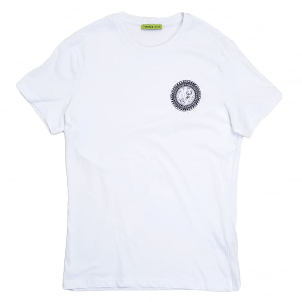 VERSACE JEANS Short Sleeve Crew Neck Cotton Slimmer Fit White T Shirt with Black Logo Print on the Chest