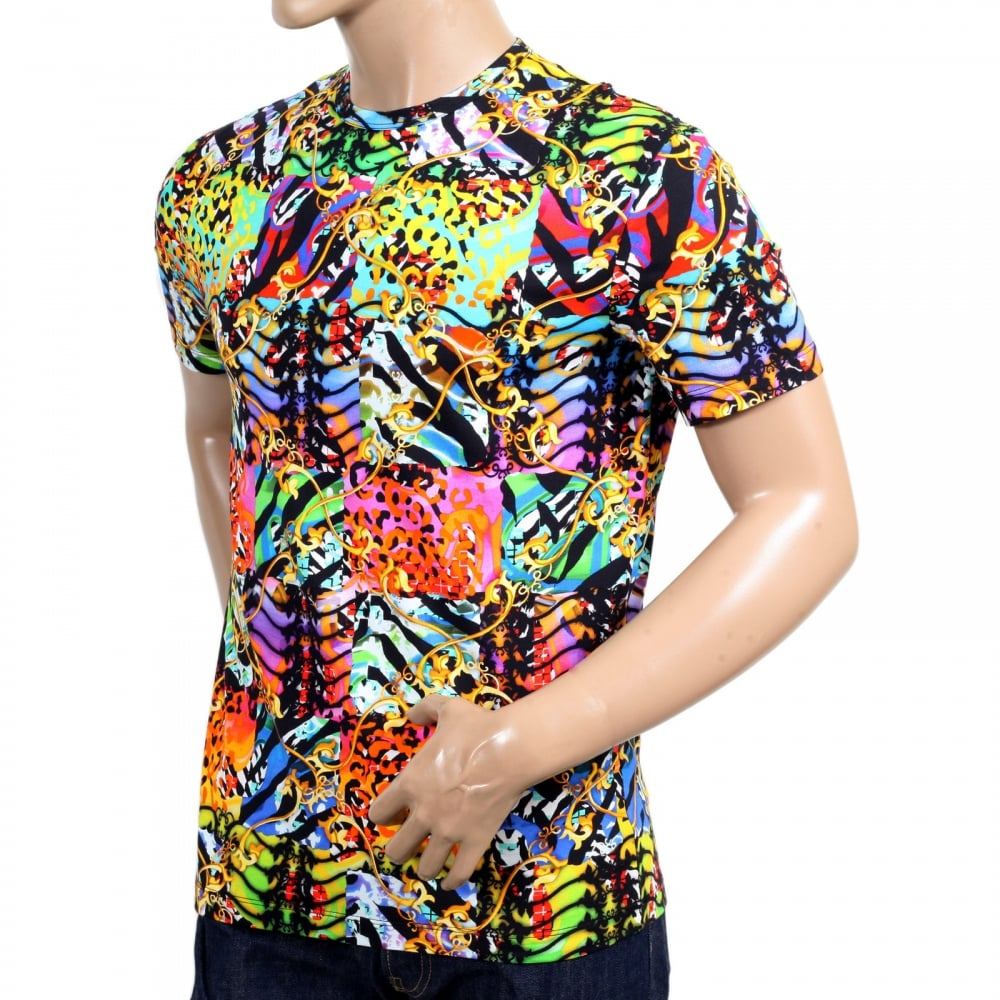Mens printed t shirt in multi colour by versace uk for Versace style shirt mens