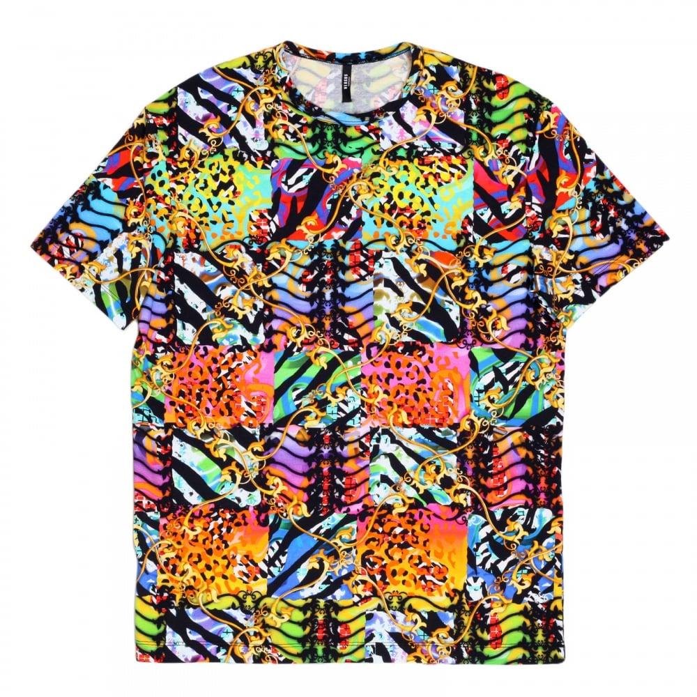 mens printed t shirt in multi colour by versace uk. Black Bedroom Furniture Sets. Home Design Ideas