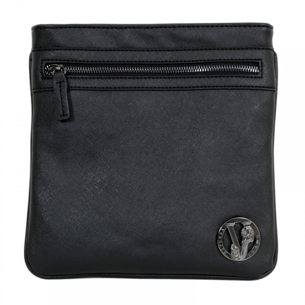 ef665a8fb2a4 ... VERSACE JEANS Tiger Eyelet Gunmetal Grey Logo E1YOBB44 Black Bag for Men  with Top Zip Closure ...