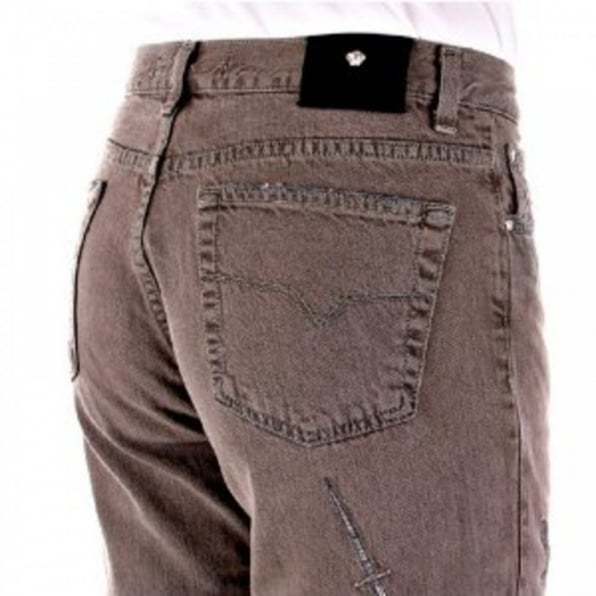 VERSACE JEANS Washed Taupe, Slim Fit, Distressed Denim Jeans