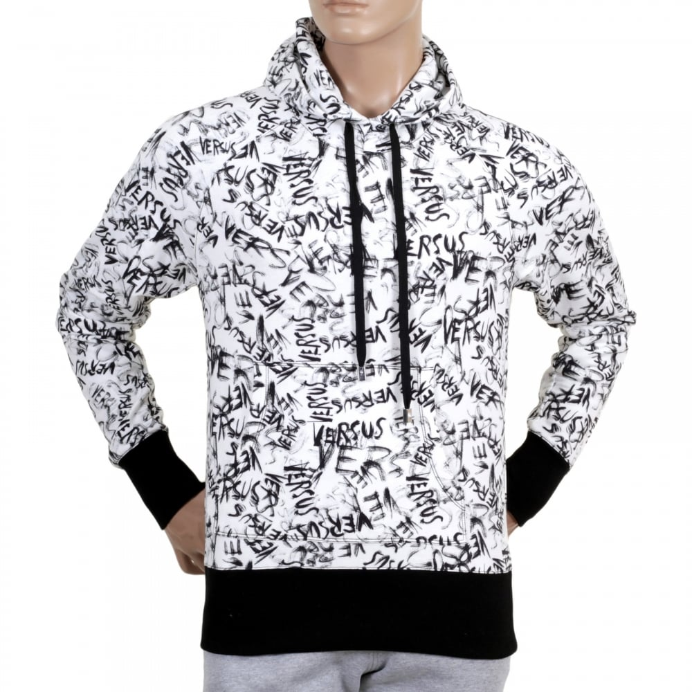 White Hooded Pull Over Sweatshirt By Versace With Graffiti Print Versacee Printed On Black Ribbed Waistband And Sleeve Cuffs
