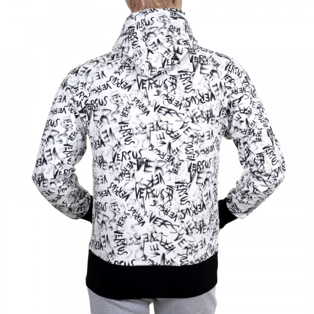 b9686c3f50e ... VERSACE JEANS White Graffiti Printed Hooded Sweatshirt with Black  Ribbed Waistband and Sleeve Cuffs ...