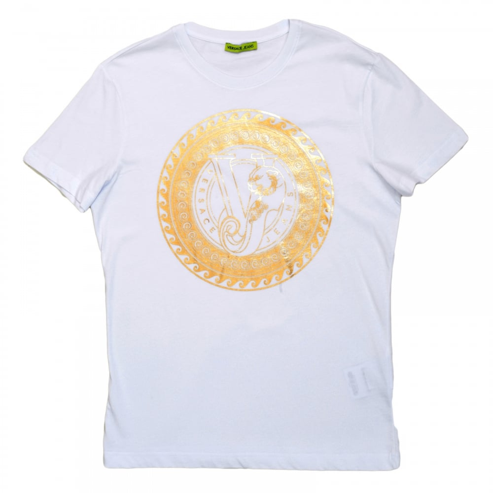 c67667e72 VERSACE JEANS White Short Sleeve Cotton Made Crew Neck T Shirt with Gold Logo  Print on ...