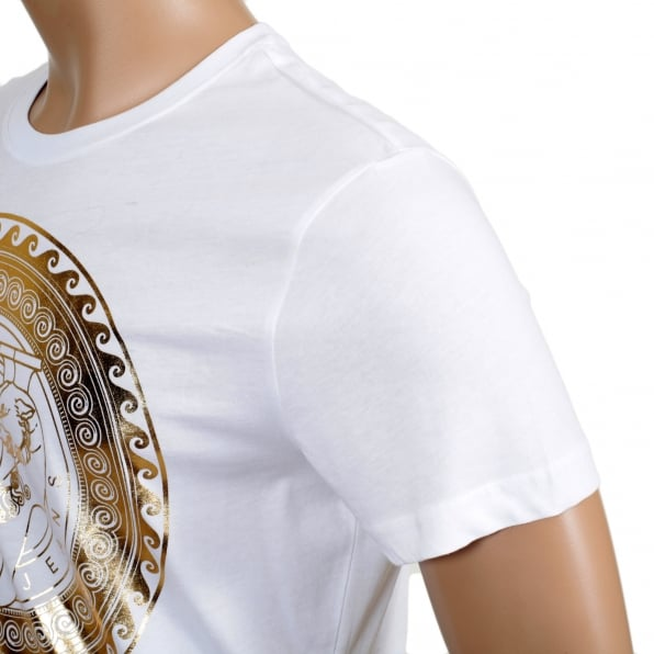 VERSACE JEANS White Short Sleeve Cotton Made Crew Neck T Shirt with Gold Logo Print on the Chest