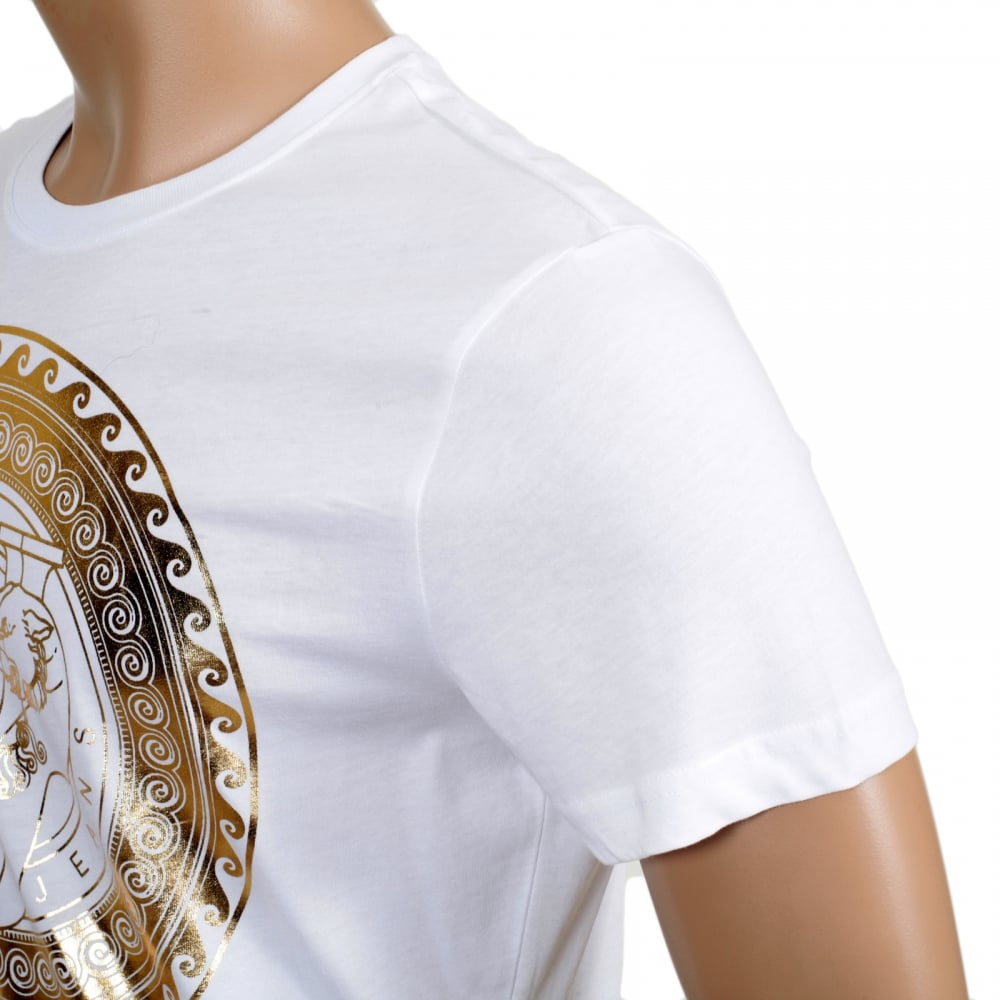 aa93c91d2 ... VERSACE JEANS White Short Sleeve Cotton Made Crew Neck T Shirt with  Gold Logo Print on ...