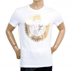 White Short Sleeve Cotton Made Crew Neck T Shirt with Gold Logo Print on the Chest