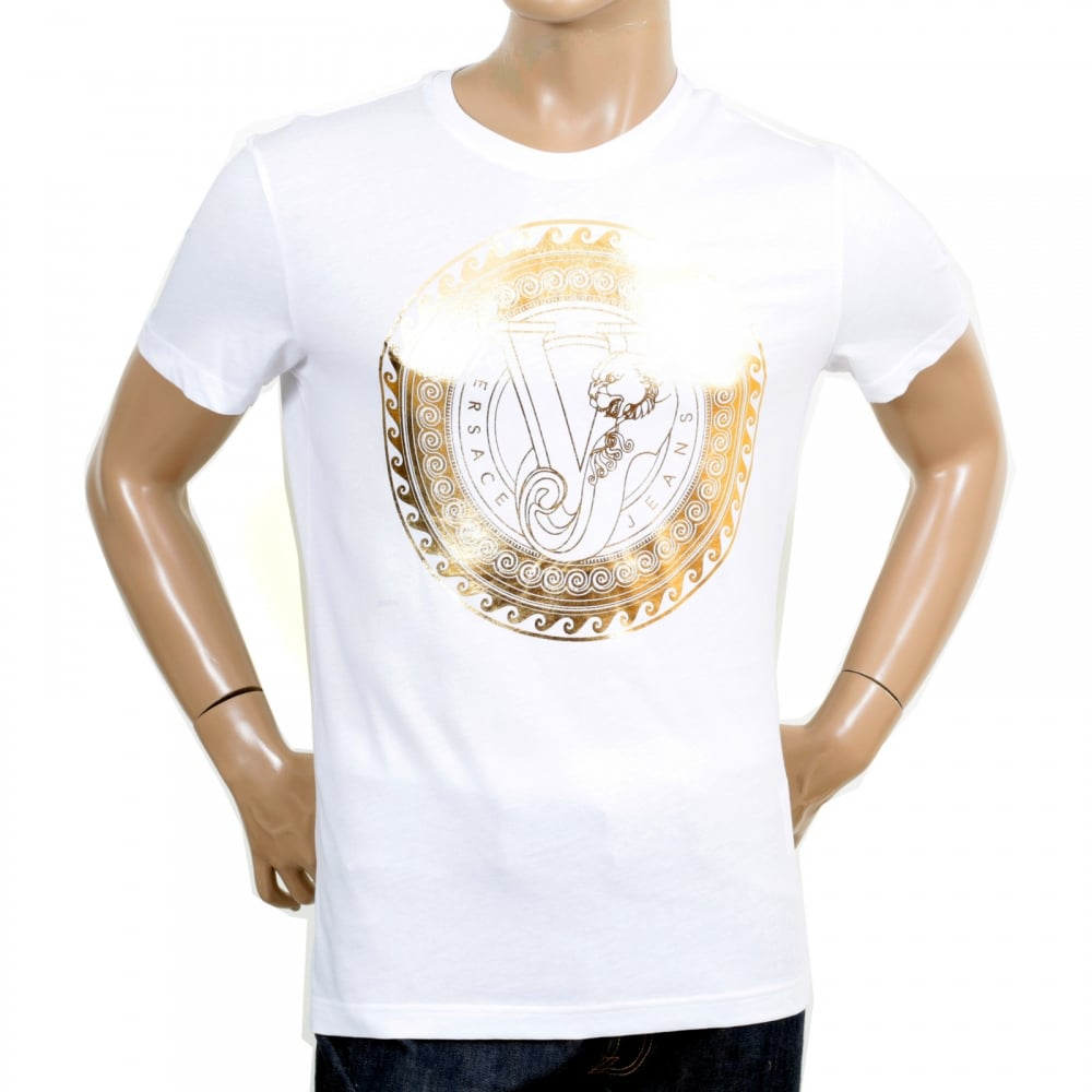 versace gold logo printed crew neck t shirt in white shop now. Black Bedroom Furniture Sets. Home Design Ideas