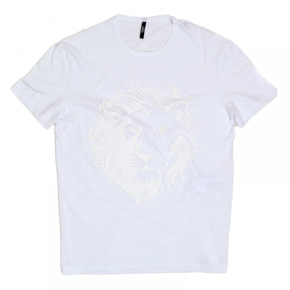 db183c976dabae VERSACE JEANS White Short Sleeve Crew Neck Regular Fit Mens T Shirt with  Self Coloured Printed ...