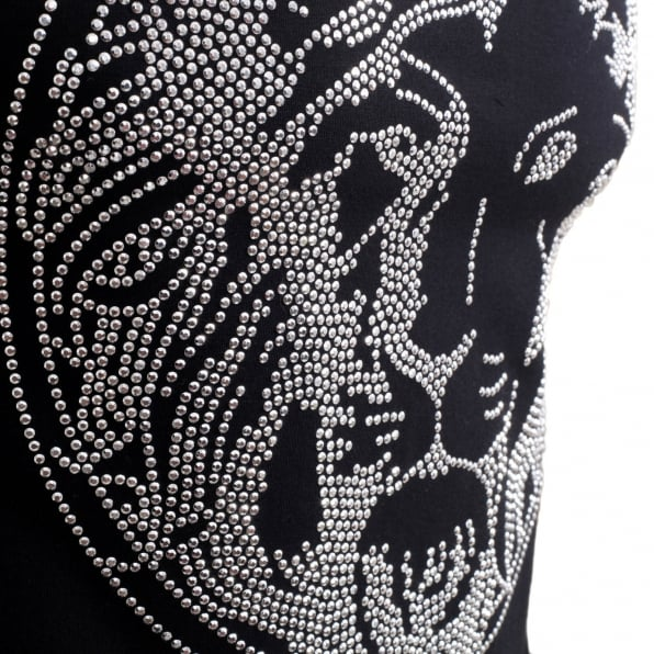 VERSUS VERSACE Black Regular Fit Crew Neck Short Sleeved Mens T Shirt with Silver Rhinestone Lion Head Design