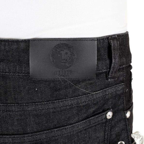 VERSUS VERSACE Black Slim Fit Low Waist Stretch Jeans with Silver Lion Head Studs and Removable Lion Head Safety Pins
