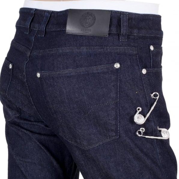 VERSUS VERSACE Dark Indigo Blue Slim Fit Low Waist Jeans with Lion Head Adorned Removable Safety Pins