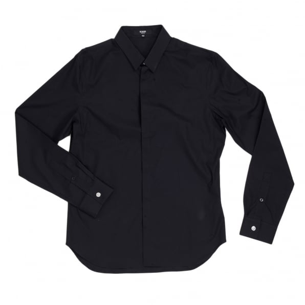 VERSUS VERSACE Mens Black Stretch Cotton Large Self Coloured Lion Head Embroidered Slim Fit Shirt with Soft Collar
