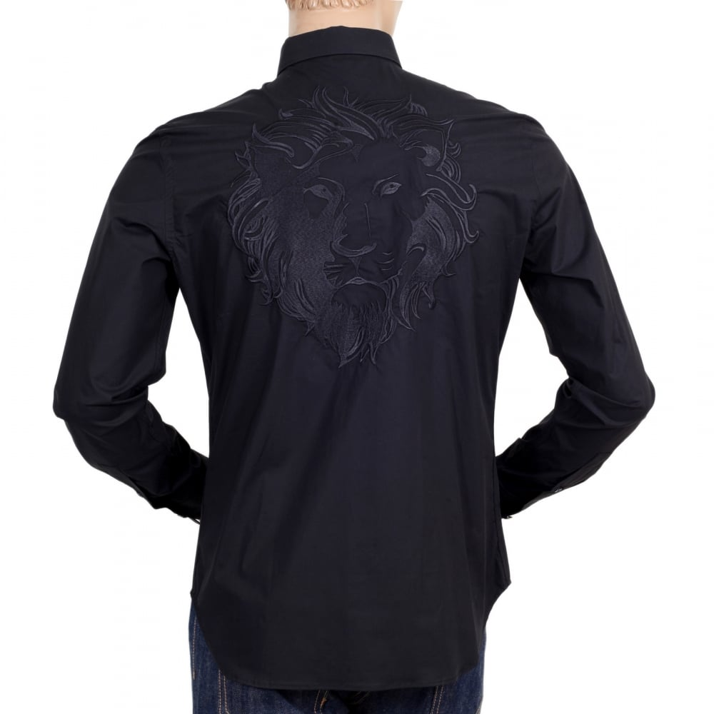 f692c314 Versace Slim Fit Lion Head Embroidered Shirt in Black