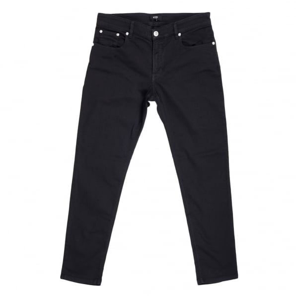 VERSUS VERSACE Mens Black Stretch Slimmer Fit Jeans with Silver Lion Head Rivets