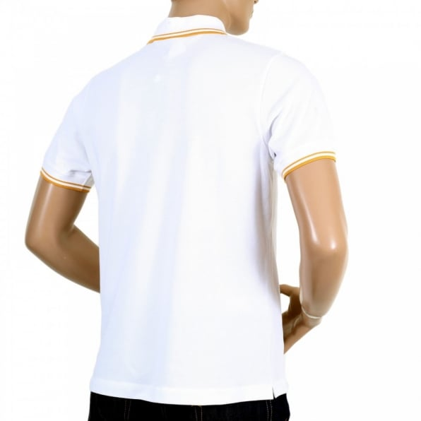 VERSUS VERSACE Mens Regular Fit Short Sleeve Cotton Polo Shirt in White