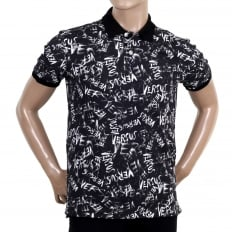 Regular Fit Black Cotton Graffiti Printed Polo Shirt with Lion Head Buttons
