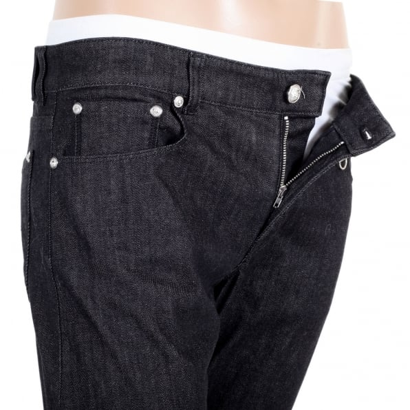 VERSUS VERSACE Washed Black Stretch Slim Fit Jeans with Silver Lion Head Rivets and Key Ring