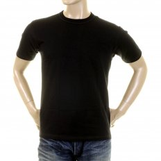 Black Cotton Crew Neck Short Sleeve Regular Fit Tubular One Piece Body T-Shirt WV73544