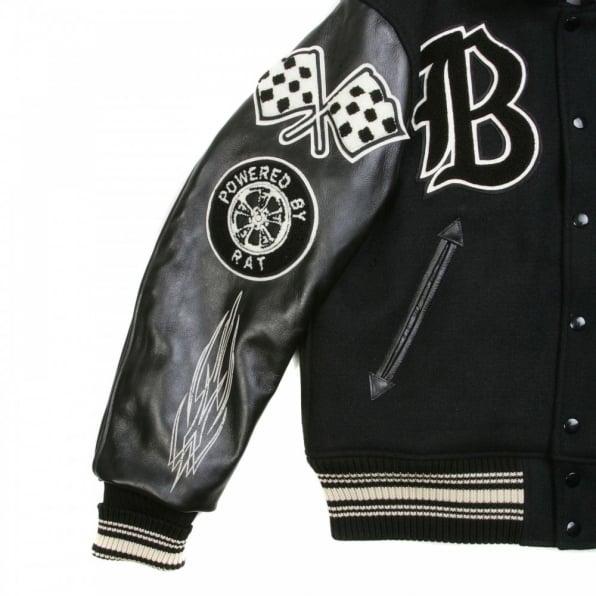 WHITESVILLE Letterman Regular Fit Black Wool Body Black Raglan Leather Sleeve Crank Buster Jacket WV11375