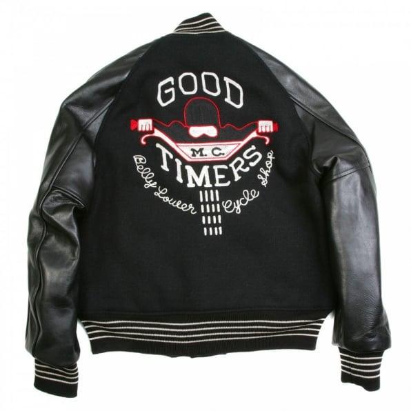 WHITESVILLE Letterman Regular Fit Black Wool Body Black Raglan Leather Sleeve Good Timers Jacket WV11376