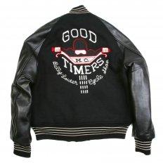 Letterman Regular Fit Black Wool Body Black Raglan Leather Sleeve Good Timers Jacket WV11376