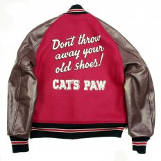 Letterman Regular Fit Red Wool Body Brown Raglan Leather Sleeve Cats Paw Jacket WV11376