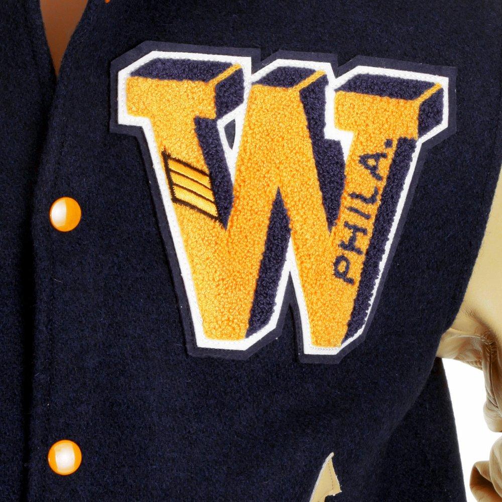 4d47f75c3e3 ... WHITESVILLE Letterman Regular Fit Royal Blue Wool Body Cream Leather  Sleeve Philadelphia Wild Cats Stadium Jacket ...