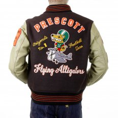 Regular Fit Brown Body Dark Cream Leather Sleeve Award Letterman Flying Alligators Stadium Jacket WV12077