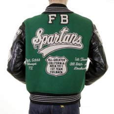 Regular Fit Dark Green Wool Body Black Leather Sleeve Award Letterman Spartans Stadium Jacket WV12310