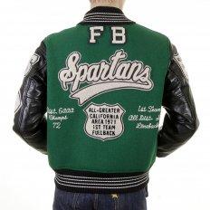 Regular Fit Dark Green Wool Body Black Leather Sleeve Award Letterman Spartans Stadium Jacket WV12310