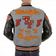 Regular Fit Grey Wool Body Black Leather Sleeve Award Letterman Philadelphia Stadium Jacket WV12310