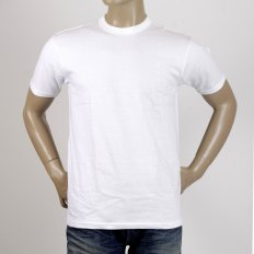 White Cotton Crew Neck Short Sleeve Regular Fit Tubular One Piece Body T-Shirt WV73544