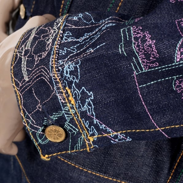 YOROPIKO Embroidered Fudoumyouou denim jacket