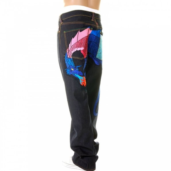 YOROPIKO Hungry Dragon Pink Royal Sky Denim Jean