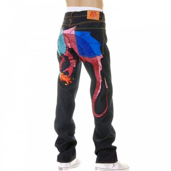 YOROPIKO Hungry dragon Royal Denim sky pink Jean