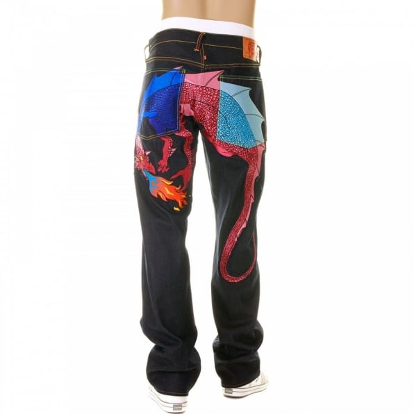YOROPIKO Hungry Dragon Royal Pink Sky Denim Jean